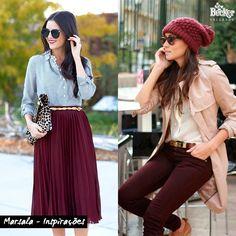 Inspirações de roupas na cor que vai reinar em 2015 - Marsala http://www.beckerevoce.com.br/marsala-a-cor-tendencia-de-2015/