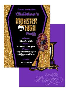 Monster High - Clawdeen Wolf Digital Birthday Party Invitation / Child Party…