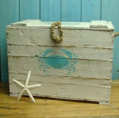 An awesome white weathered crab crate.