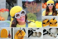DIY minion outfit for Halloween Minion Halloween Costumes, Homemade Minion Costumes, Creative Halloween Costumes, Diy Costumes, Halloween Diy, Costume Ideas, Halloween Stuff, Crazy Costumes, Carnival