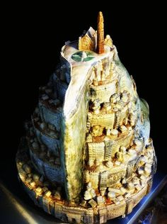 Check out this awesome Minas Tirith cake from The Cake Geek! This wedding cake turned out to be around 180 servings (so you may need more for your average hobbit party).