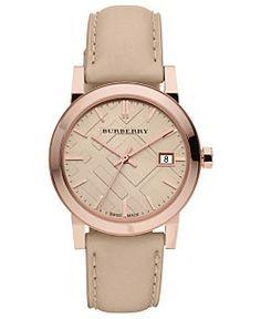 Burberry Watch, Women's Swiss Nude Leather Strap 34mm BU9109
