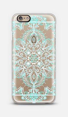 Aqua and White Lace Mandala Phone Case