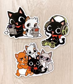 Gamercat and Friends Vinyl Stickers – Sugar Bunny Shop Gamer Cat, Sticker Paper, Stickers, Kitty Games, Little Kitty, Cat Wallpaper, Cat Drawing, Funny Games, Cat Art