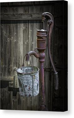 Rusty Hand Water Pump Canvas Print / Canvas Art by Randall Nyhof Wooden Barn, Rustic Barn, Old Water Pumps, Objets Antiques, Americana Home Decor, Camping Water, Pump House, Canvas Art, Canvas Prints