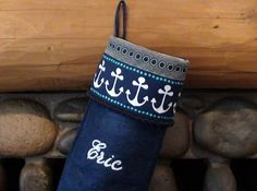 Personalized gift: Monogrammed Nautical Christmas Stockings by audreyreneedesigns, $35.00.