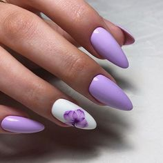 Accent Nails: Punch Up Your Mani in 10 Easy Ways - Use Another Color to Accentuate the Ring Finger For Sweet Lavender❤ Accent Nails: Punch Up Your M - Acrylic Nails Coffin Matte, Simple Acrylic Nails, Accent Nail Designs, Nail Art Designs, Stylish Nails, Trendy Nails, Purple Nail Art, Turqoise Nails, Ring Finger Nails