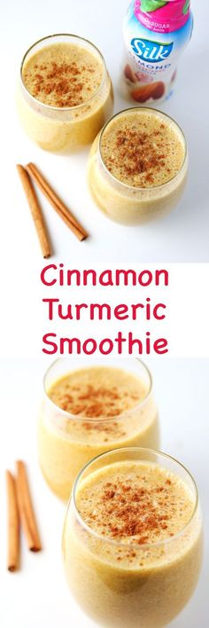 This Cinnamon Turmeric Smoothie is so creamy and delicious! We made this dairy free in partnership with (protein fruit smoothie dairy free) Turmeric Smoothie, Juice Smoothie, Smoothie Drinks, Healthy Smoothies, Healthy Drinks, Smoothie Recipes, Healthy Snacks, Nutribullet Recipes, Detox Drinks