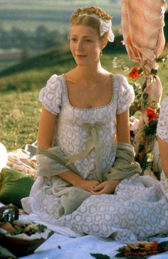 Emma (1995)j. austen. I love the white and green combination of this dress, even though this scene is mortifying.
