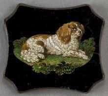 AN ITALIAN MICROMOSAIC PLAQUE: SPANIEL . Circa 1850-1880. 1-1/8 x 1-1/2 inches (2.9 x 3.8 cm).