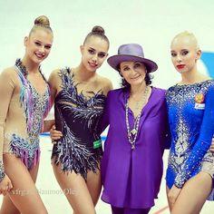Alexandra SOLDATOVA, Magarita MAMUN, Irina VINER (Head coach) & Yana KUDRYATVEVA all from Russia ❤️❤️ Photographer Oleg Naumov.