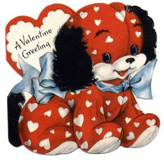 free-vintage-valentine-card-red-puppy-blue-bow.jpg 492×480ピクセル