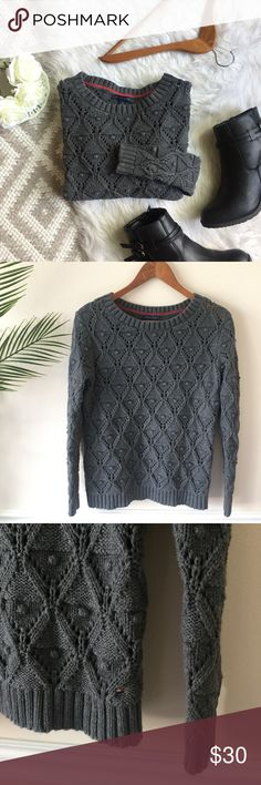 Tommy Hilfiger • Grey Textured OpenKnit Sweater Tommy Hilfiger Grey Textured Open Knit   100% cotton. Thick open-knit. Pom texture details. Fall fashion! Slightly heavy. Charcoal grey tone. In flawless condition! Size S. Length: 24 Bust: 18 inches flat Tommy Hilfiger Sweaters