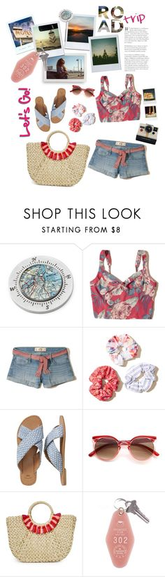 """""""Let's Go!"""" by mmk2k ❤ liked on Polyvore featuring Polaroid, So It Goes, Chart Metal Works, Hollister Co., Gap, ZeroUV, Hat Attack, 7 For All Mankind, Summer and travel"""