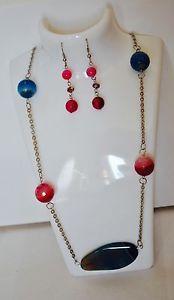 Set collana e orecchini in acciaio e pietre di agata e cristalli #necklace