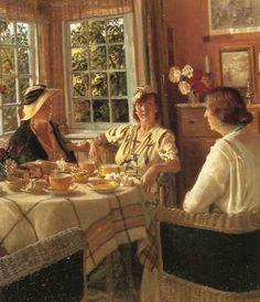 "August Haerning (1874-1961), Danish painter, ""The Tea Party"" Undated"