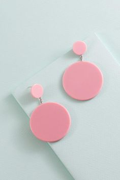 - Acrylic Round Earrings - Acetate Material - Drop: 3 in. / 7.62 cm. - Width: 1.95 in. / 4.97 cm.
