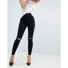 ASOS RIDLEY Skinny Jeans In Clean Black With Rips ($48) ❤ liked on Polyvore featuring jeans and black