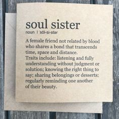 Soul Sister card happy friend quotes friendship quotes happy quotes day quotes birthday quotes wife quotes quotes quotes sayings Sister Friend Quotes, Sister Friends, Bff Quotes, Happy Quotes, Best Friend Birthday Quotes, Soul Quotes, Best Friend Quotes Meaningful, Quotes For Best Friends, Family Quotes
