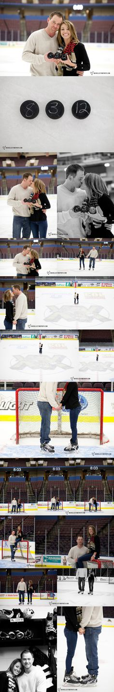 Hockey engagement photos!  I would love to do a curling theme with a veil and tophat made for two stones.