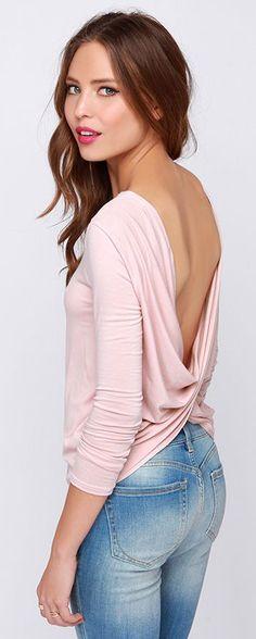 Pink Open Back Shirt