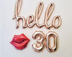 Rose Gold Hello 30 Balloon Decoration for Birthday Party 21st Bday Ideas, 21st Birthday Decorations, 25th Birthday Parties, Happy 21st Birthday, Gold Birthday, 30th Birthday Balloons, 21st Balloons, 30th Birthday Ideas For Women, 21st Birthday Themes