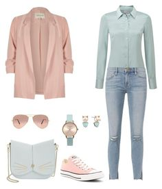 """Pastel colours"" by sneakergirly ❤ liked on Polyvore featuring River Island, Ted Baker, Pure Collection, Frame, Converse, Olivia Burton, Betsey Johnson and Ray-Ban"