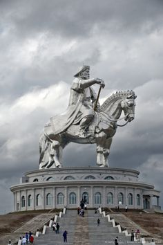 Genghis Khan Equestrian Statue (131 ft 3 in tall) on the bank of the Tuul River at Tsonjin Boldog  east of  Ulaanbaatar),