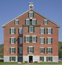 shaker symmetry, Central Brick Dwelling, kitchen and storage rooms on the ground level, dining room on the second floor on this end and a meeting room on the other end, retiring rooms in the remainder of the house--Hancock Shaker Village, Pittsfield, MA