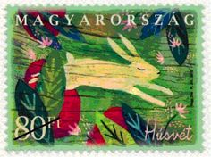 Magyar Posta postage stamp - The main subjects of the stamp design are red Easter eggs and the bunny, set in a rich composition with bright spring colours.