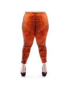 Plus Size Orange Aztec Print Leggings