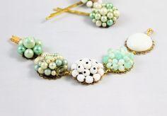 Vintage cluster earring bracelet mint green ivory by madebysheri