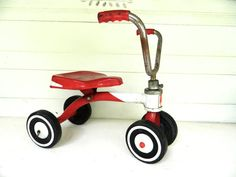 Vintage red tricycle at www.etsy.com/listing/193747203/