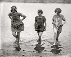 "Girls Gone Wild. May 7, 1924. ""Three models from Washington's spring fashion show snapped at Arlington Beach."""