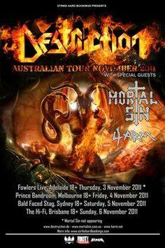 Destruction and Mortal Sin Australian tour