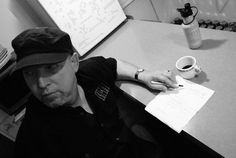 Tireless Fred Young writes a song in the diner (photo by Sarah Wilson Wood)
