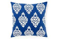 Ikat Damask 20x20 Pillow, Blue on OneKingsLane.com