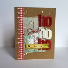 Ho Ho Ho Card by Melanie Blackburn Scrapbook Christmas Cards, Simple Christmas Cards, Scrapbook Paper Crafts, Holiday Cards, Christmas Ideas, Xmas, Cardmaking And Papercraft, Interactive Cards, Card Sketches