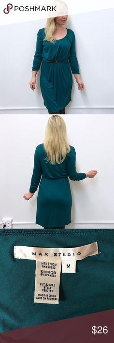 "Max Studio dress in teal M medium Max Studio dress. Sz M. Chest flat across 18"" length 36.5"" excellent condition. One of my favorite softest fabrics , viscose Blend. Max Studio Dresses Long Sleeve"