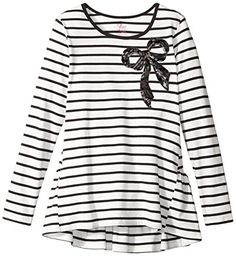 Nice The Children's Place Big Girls' Stripe Bow Tunic,  Sequin bow at front Contrast neckline Hi-low hem with straight front and longer curved ruffle hem at back, http://teensdepot.com/product/the-childrens-place-big-girls-stripe-bow-tunic/