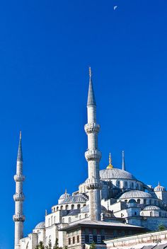 Blue Mosque and moon, Istanbul, Turkey