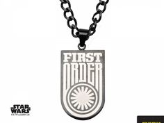 EPISODE 7 FIRST ORDER PENDANT - Stainless Steel Black Star Wars Episode 7 First Order Dog Tag Pendant with 22