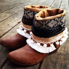 Size 6-9 New Gypsy Boho Boots Reworked Faux Leather Cowboy Boots