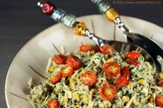 Quinoa with Corn, Kale, and Roasted Cherry Tomatoes