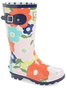 Mini Boden Flower Print Rain Boot (Toddler, Little Kid & Big Kid)