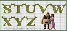 Dinha Ponto Cruz: Monograma Shrek ponto cruz