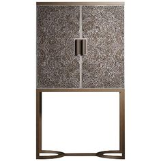For Sale on - Contemporary aesthetic and traditional craftsmanship merge to create this refined bar cabinet. The matte gray metal base has an architectural feel with Steel Furniture, Cabinet Furniture, Furniture Decor, Furniture Design, Modern Cabinets, Wood Cabinets, Grey Bar, Blonde Wood, Bronze Mirror