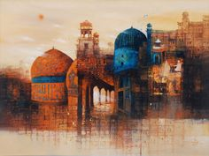 AQ Arif #Landscape #painting Mughal Building Medium: Oil on Canvas Size: 36 x 48 #Dome #paintings #fantasy #historical #art #artgallery #fineart