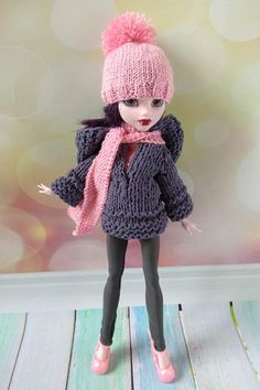 Monster High doll clothes. Hand-knitted OOAK outfit for 12