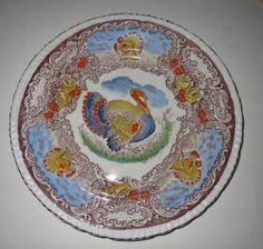 "Vintage Thanksgiving Turkey 10"" Dinner Plate Staffordshire Hand Painted Blue"